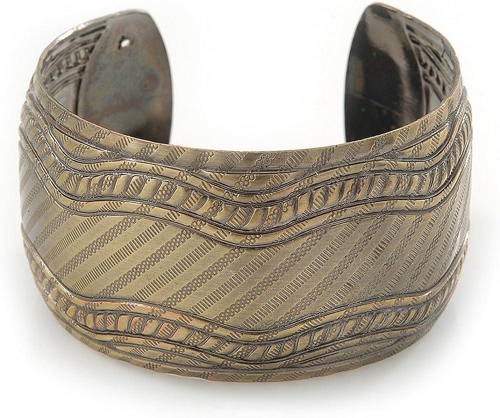 Avalaya Brushed Gun Metal 'Picotage' Silhouette Cuff Bracelet - up to 20cm Length