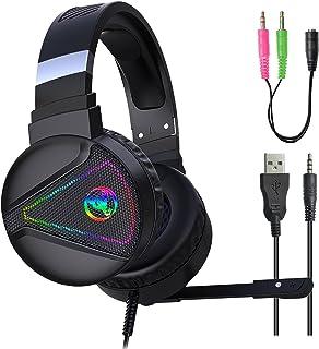 H HILABEE F16 3,5 mm Wired spelheadset, 7,1 surroundljud, minne skum öronkuddar, med mikrofon, fungerar med PC bärbar dator