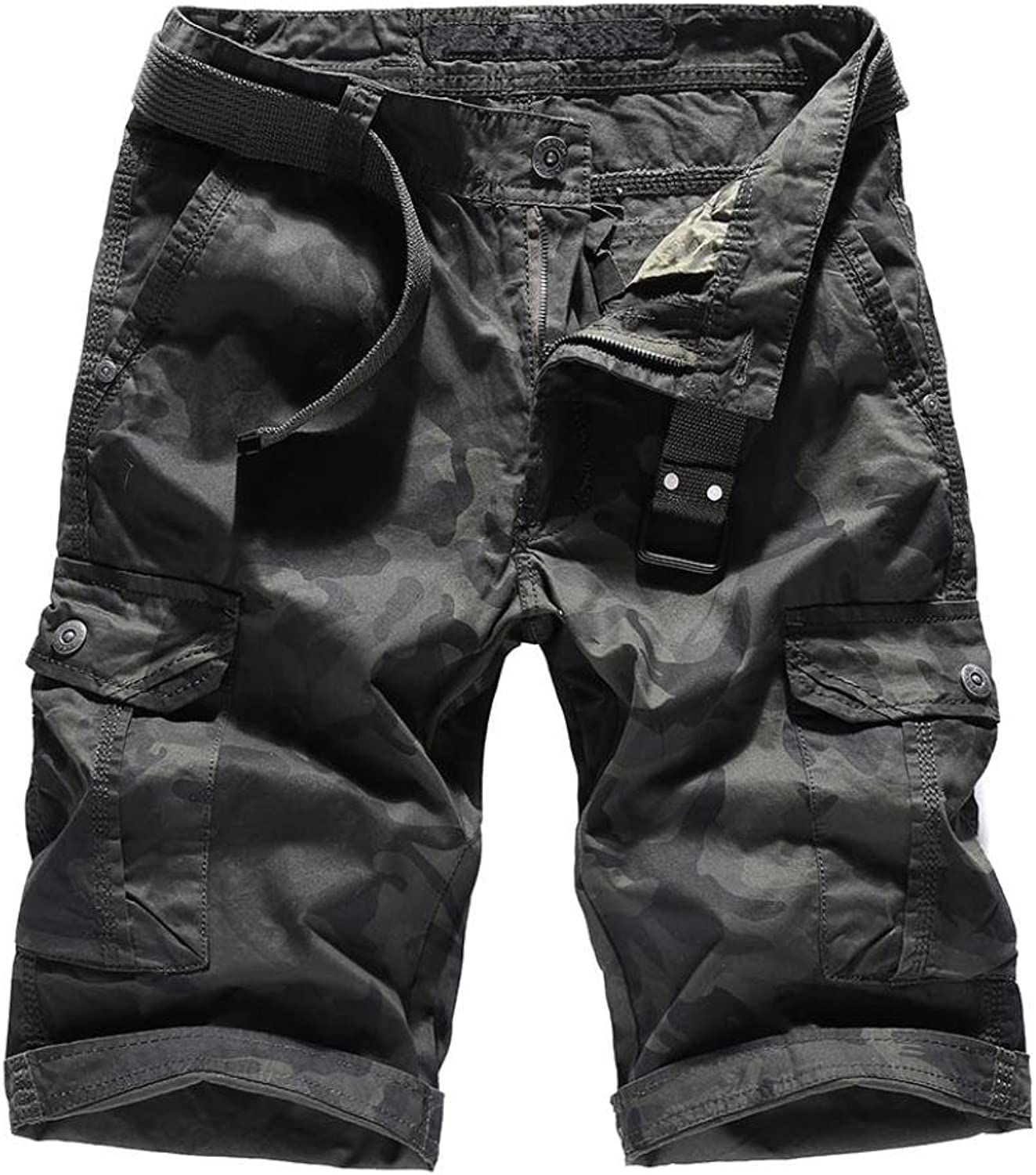 Ximandi Camouflage Camo Cargo Shorts, Male Loose Work Military Shorts with Belt