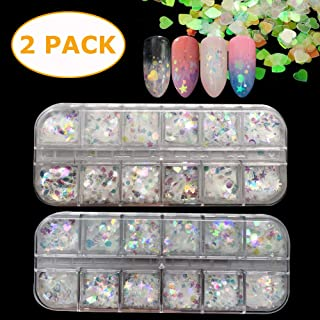 24 Boxes Holographic nail sequins butterfly iridescent Mermaid Flakes Colorful Glitter Sticker DIY Decals Decoration