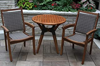 Patio Dining Set. Outdoor, Small Furniture Kit Of Natural Wood & Resin For Porch, Lawn, Pool, Garden, Balcony, Diner, Bistro, Conversation, 2 Person. Outside Round Table, Wicker, Sling Style Armchairs