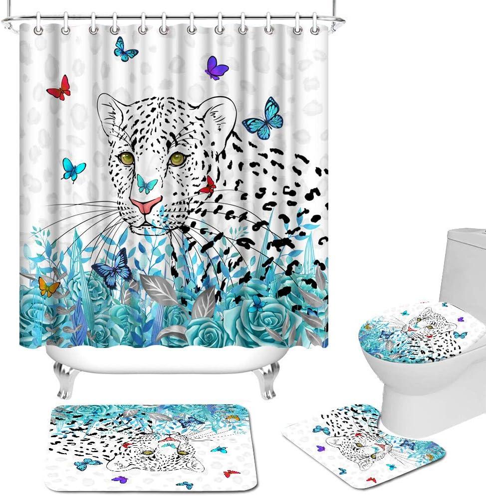 Max 90% OFF 4 Pcs Wild Bathroom Sets with Regular dealer Curtain Shower Leopard Non-Sl