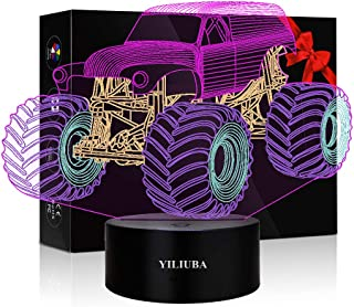 3D Illusion Lamps Car Night Light Monster Truck Posters for Boys Room Tractor Car Truck and Two Pattern or 4 Color Change ...