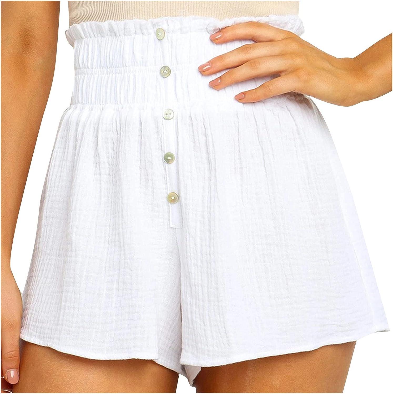 BEUU Summer Shorts for Women, Casual Ruffle Hem Flowy Elastic High Waist Shorts Lounge Pants Pure Color Beach Shorts