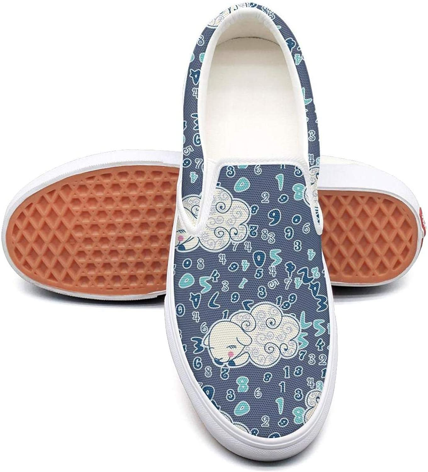 Counting Sleeping Sheep Womens Fashion Slip on Low Top Canvas Tennis shoes