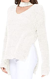 YEMAK V-Neck Long Sleeves Side Slits Casual Loose Knit Pullover Sweater MK8143