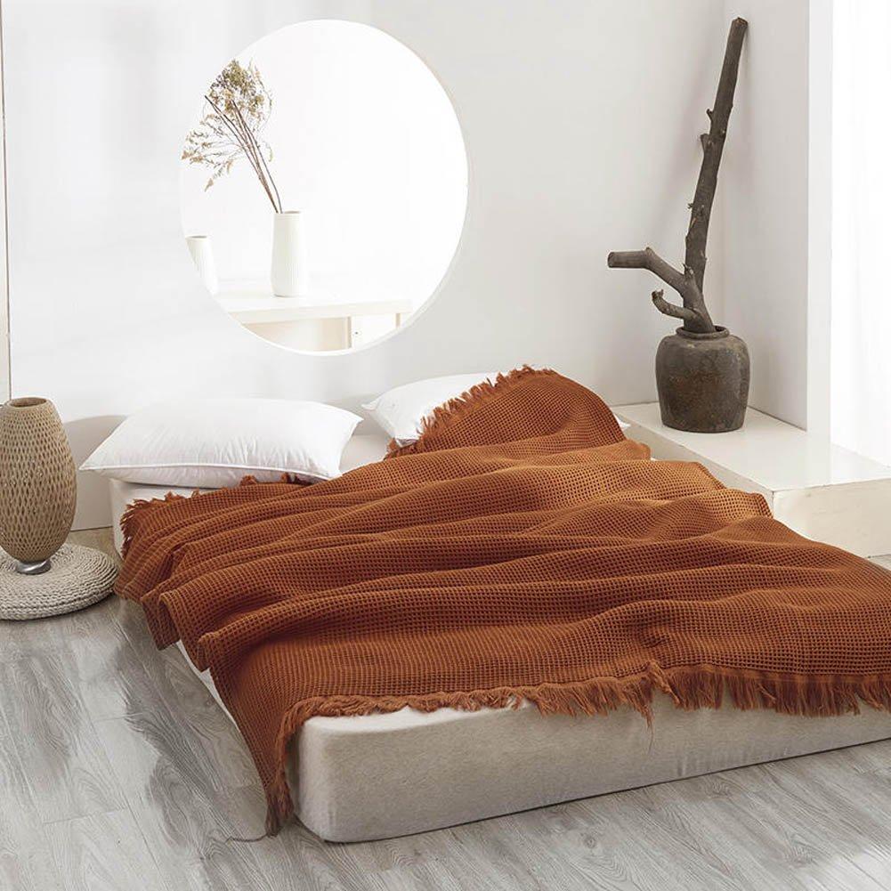 Manta de algodón orgánico de punto con diseño de gofre, manta para dormir o mantas de cama, el mejor regalo para familiares y amigos.: Amazon.es: Hogar