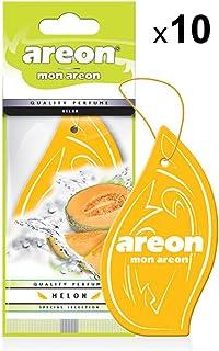 AREON Mon Auto Lufterfrischer Melone Duft Anhänger Hängend Aufhängen Spiegel Gelb Autoduft Pappe 2D Wohnung (Melon Set Pack x 10)