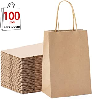 """GSSUSA 100pcs Brown Kraft Paper Bags 5.25"""" x 3.75"""" x 8"""",Handled, Shopping, Gift, Merchandise, Carry, Retail,Party Bags (Brown)"""