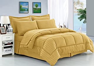 Elegance Linen Wrinkle Resistant - Luxury Silky Soft Dobby Stripe Bed-in-a-Bag 8-Piece Comforter Set --Hypoallergenic - Ki...