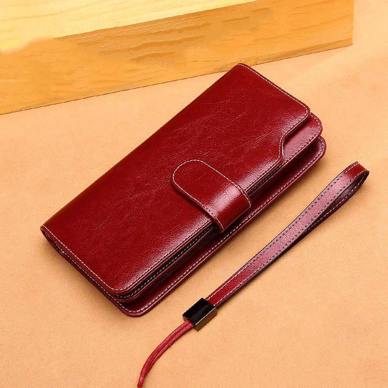 Girls Purse Women's Wallet,Oil Wax Cowhide Lady Purse Large Hand Bag MultiCard Bit Leather Wallet