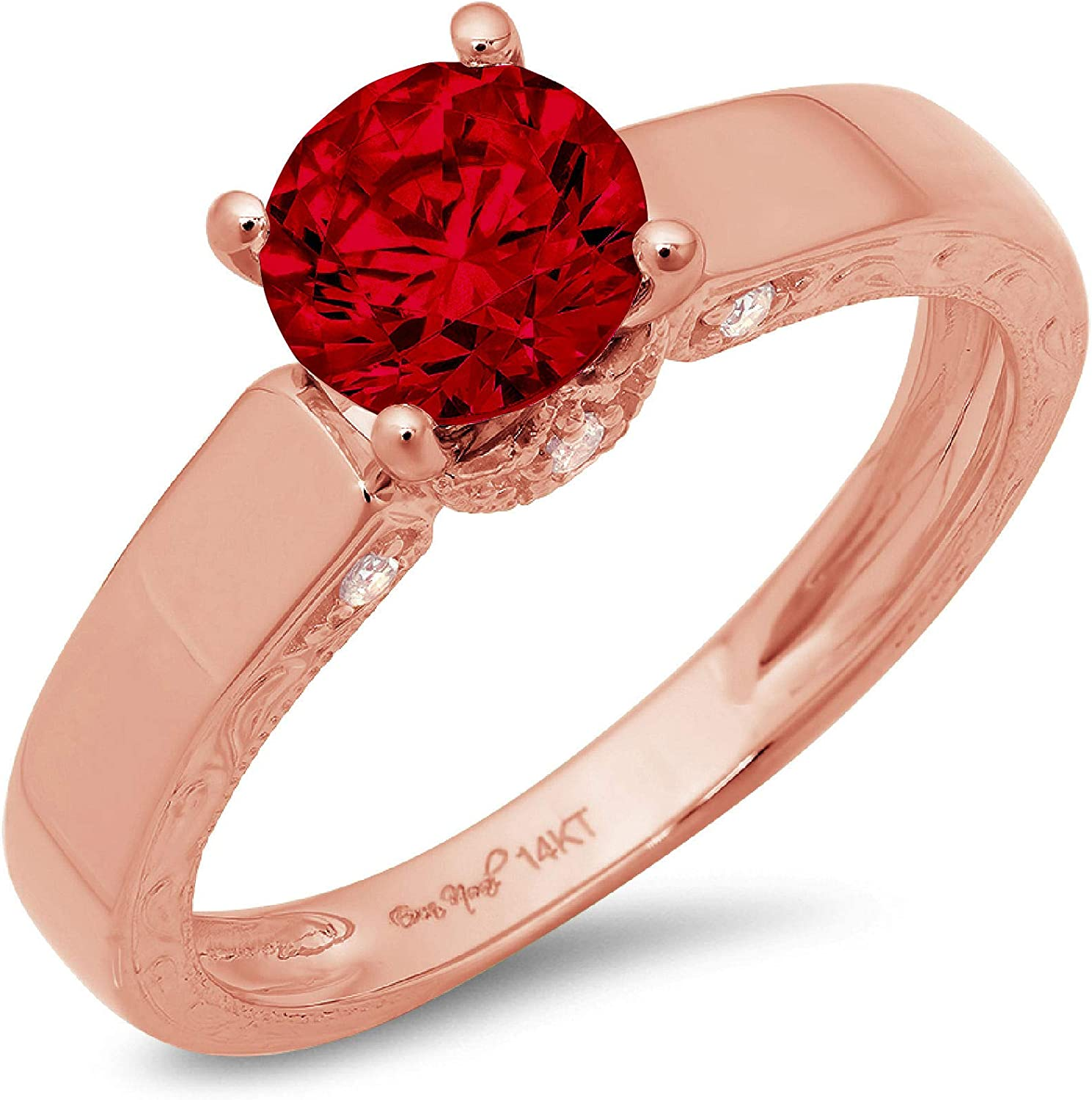 1.70ct Brilliant Round Cut Solitaire Genuine Flawless Natural Red Garnet Gemstone Engagement Promise Anniversary Bridal Wedding Accent Ring Solid 18K Rose Gold