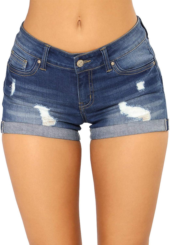ZumZup Women's Ripped Hole Summer Short Stretch Washed Skinny Denim Shorts