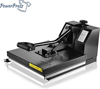 PowerPress Industrial-Quality Digital Sublimation Heat Press Machine for T Shirt, 15x15 Inch, Black