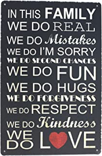 SUMIK in This Family WE DO Real Fun Hugs Love Metal Tin Sign, Vintage Plaque Poster Bar Pub Cafe Home House Wall Decor