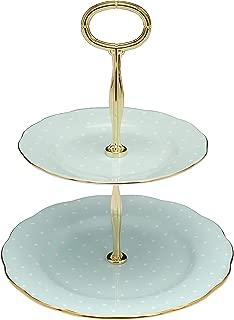 Royal Albert Two-Tier Cake Stand-Polka Turquoise