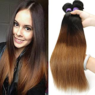 BLACKMOON HAIR 12 12 14 Inch Brazilian Virgin Ombre Hair Silky Straight Hair Weave Unprocessed Virgin Human Hair Extensions T1B/4/30