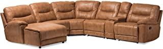 Baxton Studio 6 Piece Nadeen Palomino Suede Sectional with Recliners Corner Lounge Suite, Light Brown