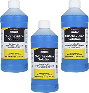 Durvet 3 Bottles of Chlorhexidine Solution, 16 Ounces each, for Cleaning Superficial Wounds on Dogs and Horses