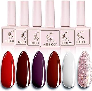 NEEKO Burgundy Red Classic Gel Nail Polish Set, 6 Colors UV Gel Nail Polish with Wine Red Purple White Glitter Pink, Soak ...