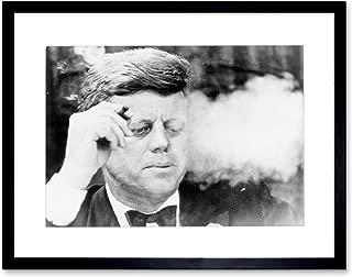 Vintage Photo BW JFK Kennedy Smoking Cigar Art Frame Print Picture F12X1714