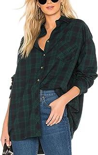 JLCNCUE Women's Classic Long Sleeve Shirt Street Fashion Flannel Plaid Shirt Oversized Tops Blouses 71903
