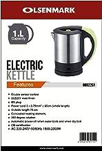 Olsenmark 1 Liter Electric Kettle - OMK2253, Silver, Stainless Steel
