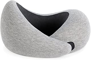 OSTRICHPILLOW GO Travel Pillow with Memory Foam for Airplanes, Car, Neck Support for Flying, Power Nap Pillow, Travel Accessories for Women and Men - Colour Grey