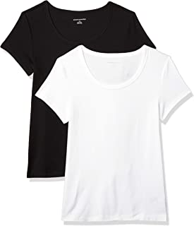 Amazon Essentials Women's 2-Pack Slim-Fit Cap-Sleeve Scoopneck T-Shirt