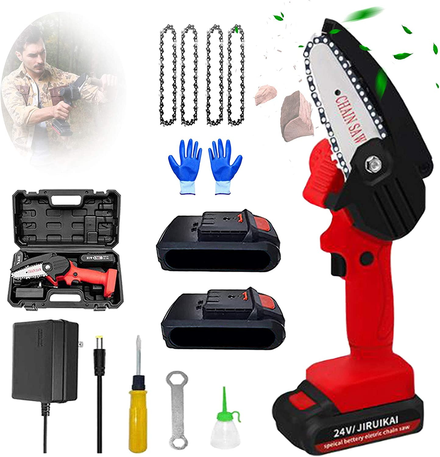 Mini Chainsaw with 2 Batteries 時間指定不可 卸売り and Handheld Saw Cordle 4 Chains