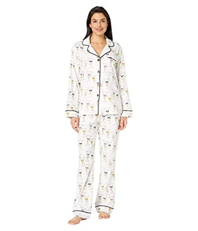 BedHead Pajamas Long Sleeve Classic Notch Collar Pajama Set (Martinis & Mistletoe) Women