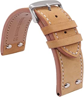TIME4BEST Black Beige Leather Watch Band Strap Stitching 20mm 22mm