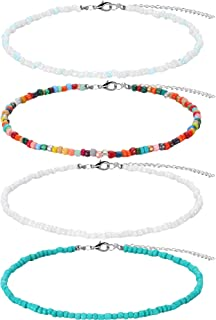 Bead Choker Necklace Adjustable Rice Beaded Necklace Turquoise Bead Chains for Women (Style A, 4 Pieces)