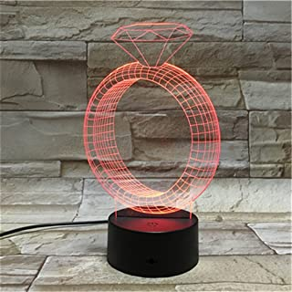 XSXMC Diamond Ring 3D Night Light,Illusion 7 Colors 3D Night Light,Acrylic Panel Remote or Touch Strong 3D Vision Lights,Creative LED Light, Home Decoration Gift for Kids,USB Powered