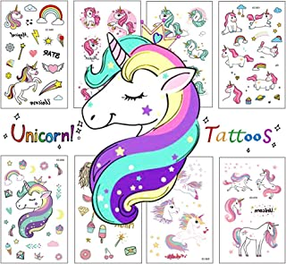 Zehhe Pack of 16 Sheets Unicorn Temporary Removable Tattoos for Kids Girls Boys Birthday Party, Unicorn Party Supplies Party Favors - Non Toxic FDA Approved Colorants (Unicorn Tattoos)