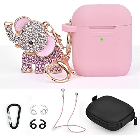 TOROTOP Compatible for Airpods Case Keychain Set 7 in 1 Silicone Protective Airpod Case Cover Accessories with Bling Elephant Keychain/Strap/Ear Hook/Travel Box Compatible for Apple Airpod 2&1(Pink)