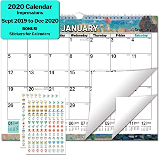 Large Wall Calendar 2020 (Impressions) 15x11.5 Monthly Large Wall Calendar, Big Hanging Calendar, Use September 2019 to December 2020, with Stickers for Monthly Wall Calendar 2020