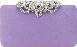 Fawziya Crown Clutch Purse Bling Hard Box Rhinestone Crystal Clutch Bag-Purple