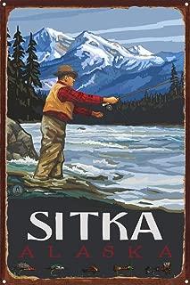 Sitka Alaska Fly Fisherman Stream Mountains Rustic Metal Art Print by Paul A. Lanquist (12