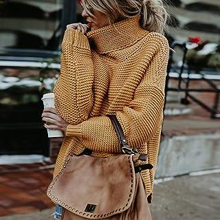 Ownsig Suéter sólido de Mujeres de Nuevo diseño para Invierno otoño de Cuello Alto Jersey de Manga Larga para Mujeres