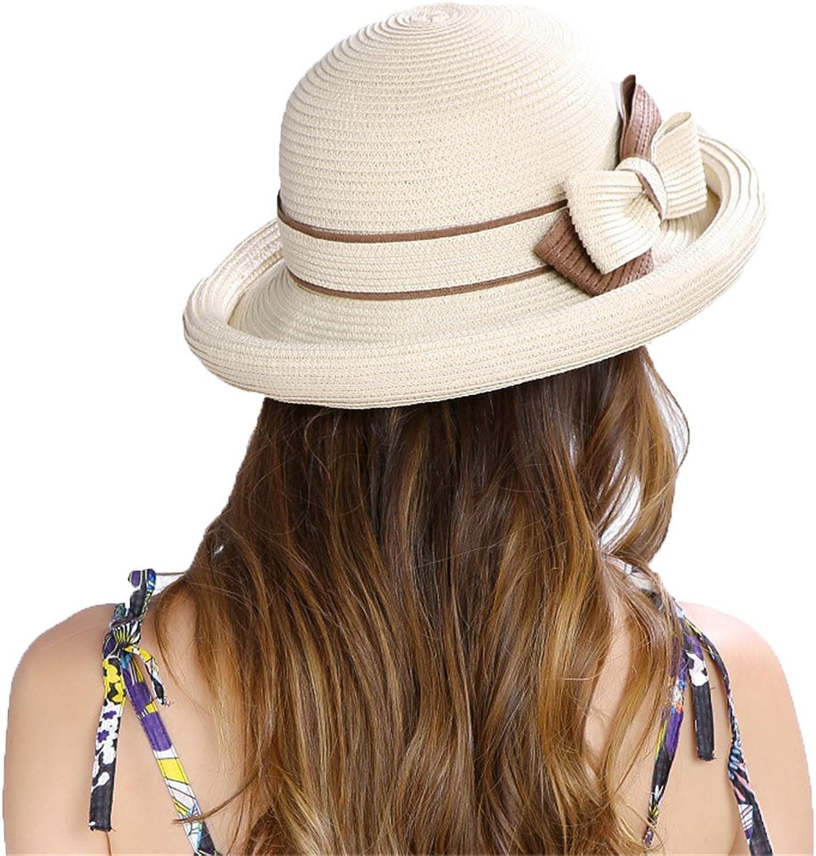 Women's Wide Brim Braided Sun Hat Female Beach Vacation Hat Women's Summer Folding Picnics Travel Wide Brim Hat for Women Girls 50+UPF