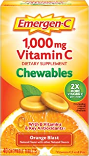 Emergen-C Chewable Vitamin C 1000mg, With B Vitamins And Antioxidants Tablet (40 Count, Orange Blast Flavor), Dietary Supp...