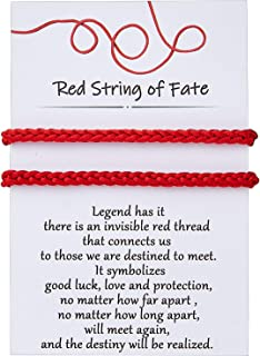 Red String of Fate Good Luck Protection Couples Bracelets for Boyfriend and Girlfriend Him and Her Long Distance Relations...
