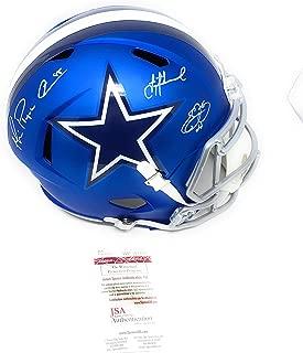 Emmitt Smith Troy Aikman Michael Irvin Dallas Cowboys TRIPLE Signed Autograph Full Size Speed BLAZE Helmet Player Holo & JSA Witnessed Certified