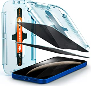 Spigen Tempered Glass Screen Protector [Glas.tR EZ Fit - Privacy] Designed for iPhone 12 / iPhone 12 Pro - 2 Pack