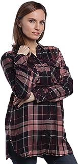 Andrea Jovine Women's Long Sleeve Plaid Shirt