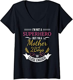 Womens Mother of 2 Boys Superhero Funny Gift for Mom with Two Sons V-Neck T-Shirt