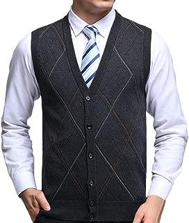 Zhhlinyuan Mens Men's Father Rhombus Pattern Wool Knitted Jumper Waistcoat Gilet