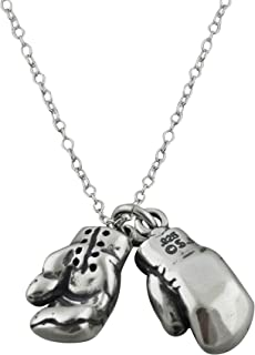 Sterling Silver 3D Boxing Gloves Charm Necklace, 18