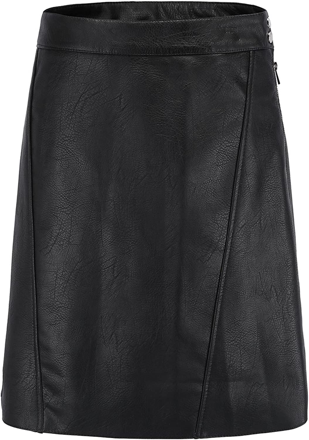 Alcea pinka Women's Faux Leather PU Skirt with Zipper and Button